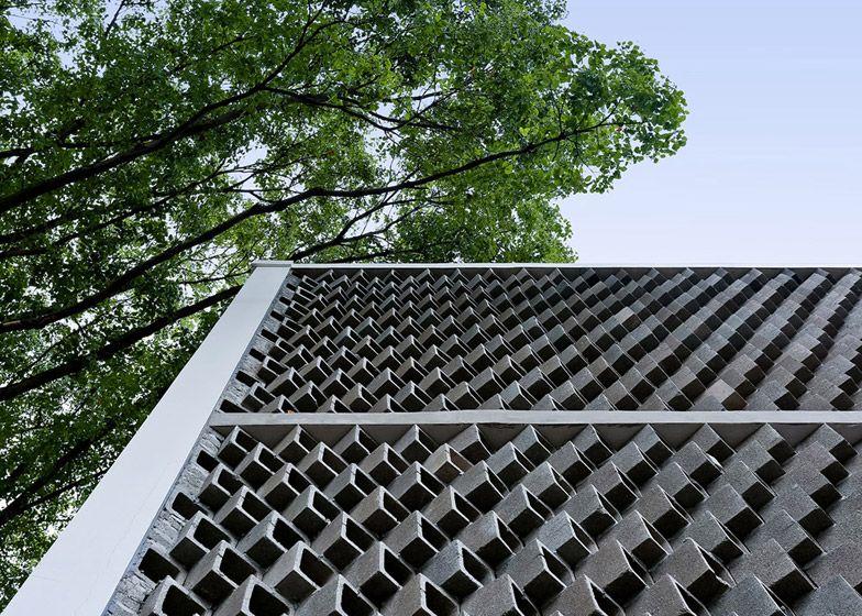 Student Bathrooms By Feng Lu Concrete Facade Concrete Blocks Brick Architecture