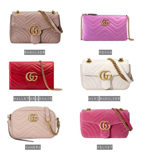 68bf32e3fbe Popular Colours and Designs of the Gucci Marmont Matelasse Chevron Quilted  Bag