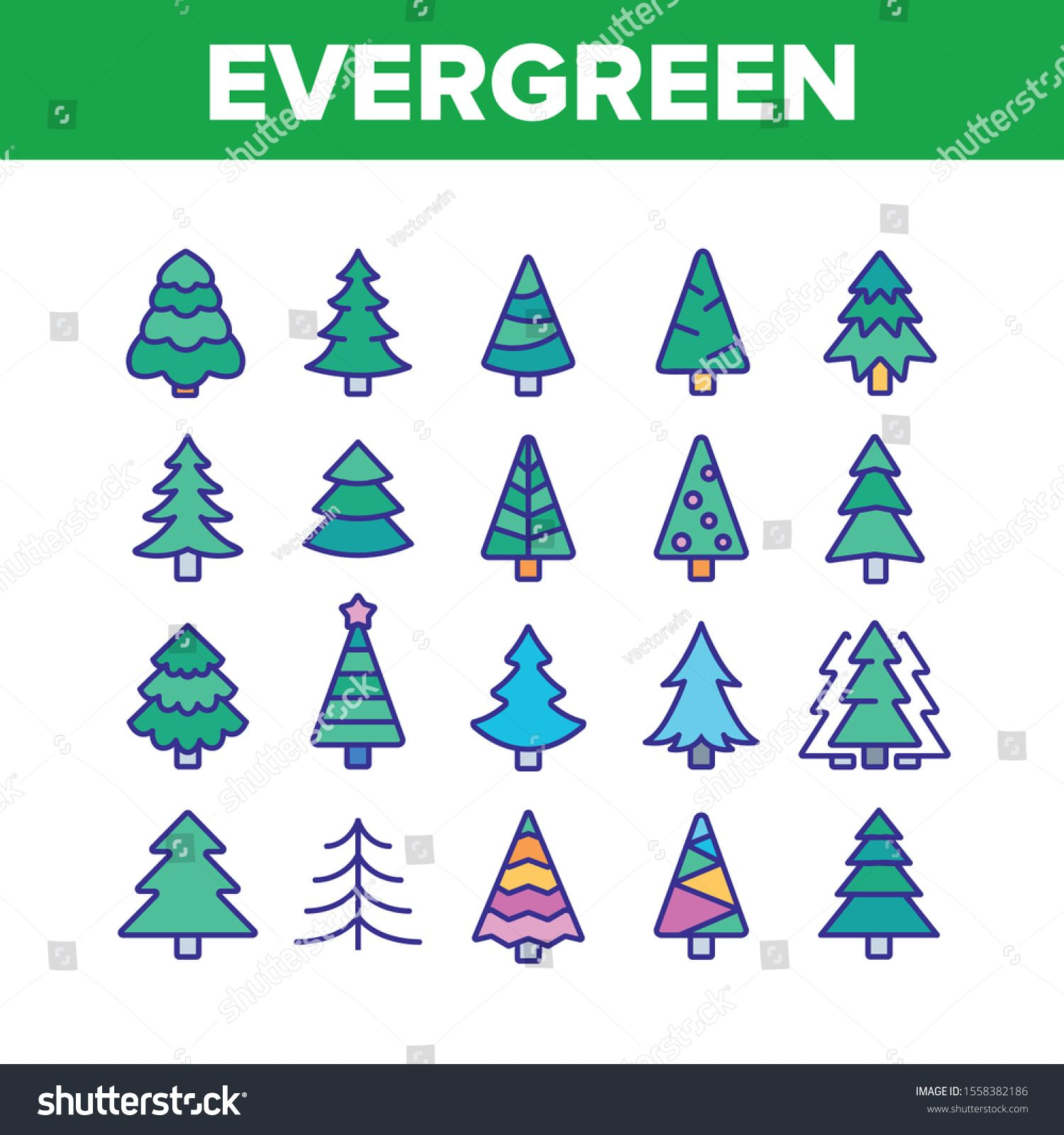 Evergreen Pine Tree Collection Icons Set Vector Thin Line Evergreen Fir With Needles Christmas Ornament Concept Linear Pic Pictogram Icon Set Icon Set Vector