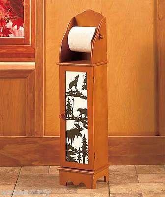 Woodland Northwood Wolf Bear Moose Tree Toilet Paper Holder Tower Bath Decor Wooden Toilet