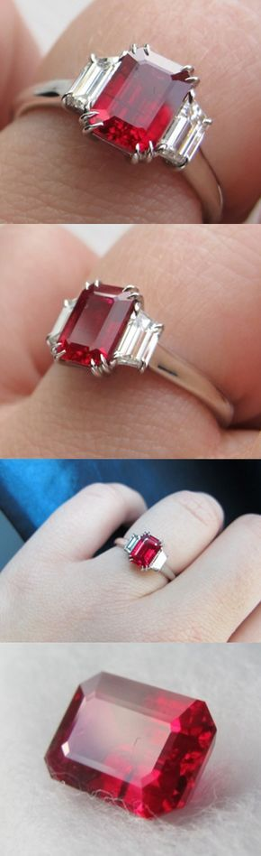 """Red. Hot. Can you feel the heat? Cokitty describes her 1.54 carat Burmese ruby as """"a delicate little thing,"""" but this stone packs a punch! Plus, it's well proportioned and perfect for this platinum three stone ring featuring trapezoid cut diamonds. Classic, regal, and dare we say...sexy? This ruby ring is pure delight. Thanks for sharing cokitty!"""