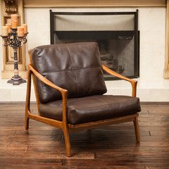 Attractive Coolidge Brown Leather Wood Frame Armchair