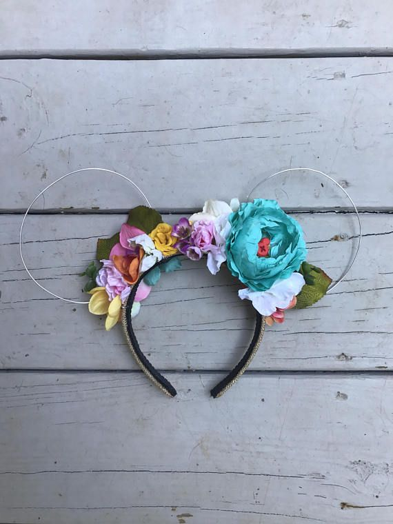Colorful Wire Mickey Ears with Flower Crown | One of a Kind Mickey ...