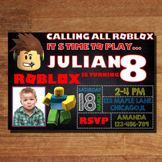 this is a 5 by 7 or 4 by 6 inch roblox birthday invitation