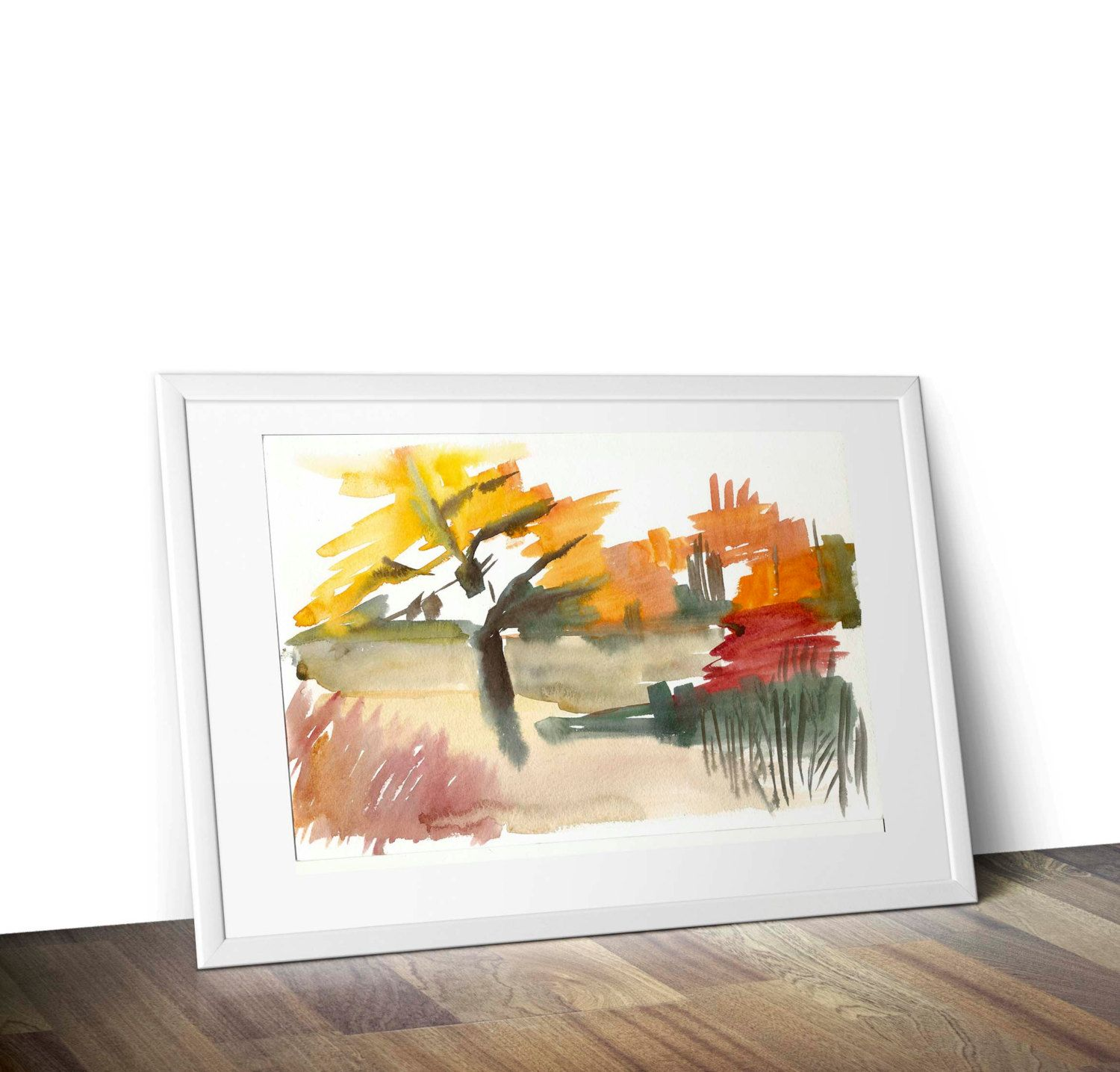 Wall decor painting autumn abstraction watercolor art print artwork