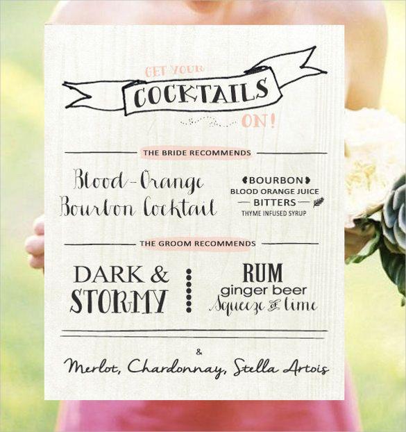 Drink Menu Template U2013 25+ Free PSD, EPS Documents Download! Free    Drinks  Cocktail Menu Template Free Download