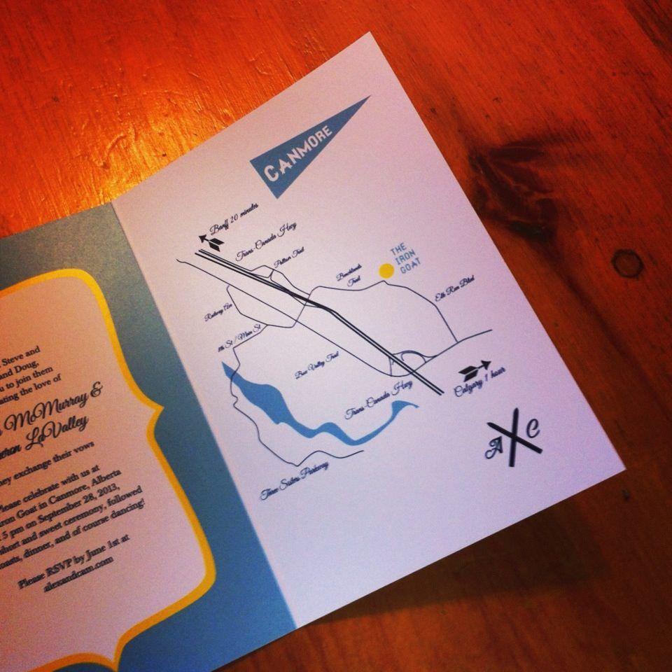 Ski Themed Wedding Invite Invitation Canmore Map Invitations
