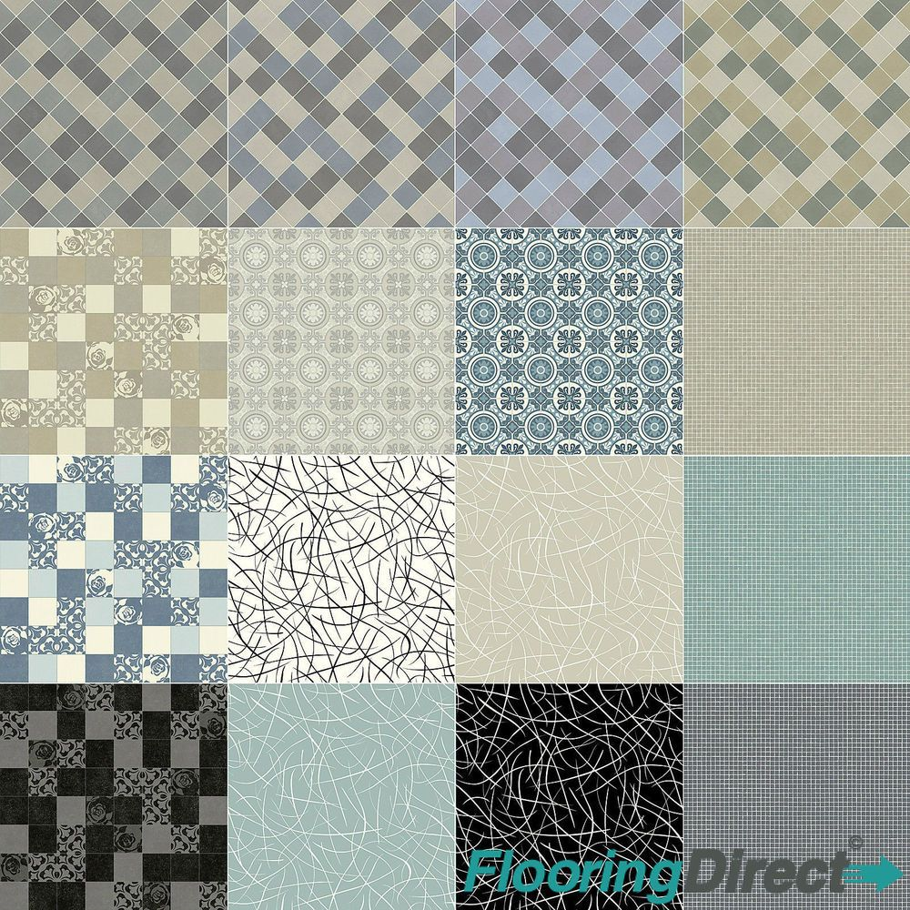 Quality Non Slip Geometric Vinyl Flooring Lino Kitchen Bathroom ...