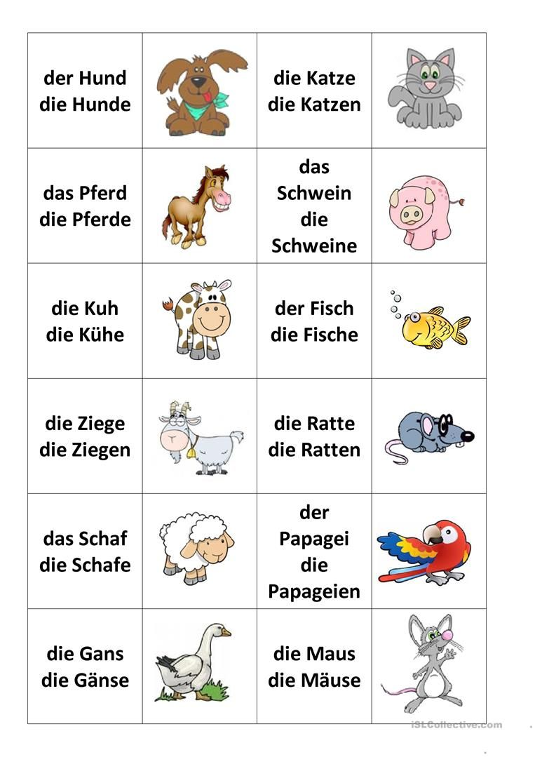 TiereMemospiel Learn german, German language learning