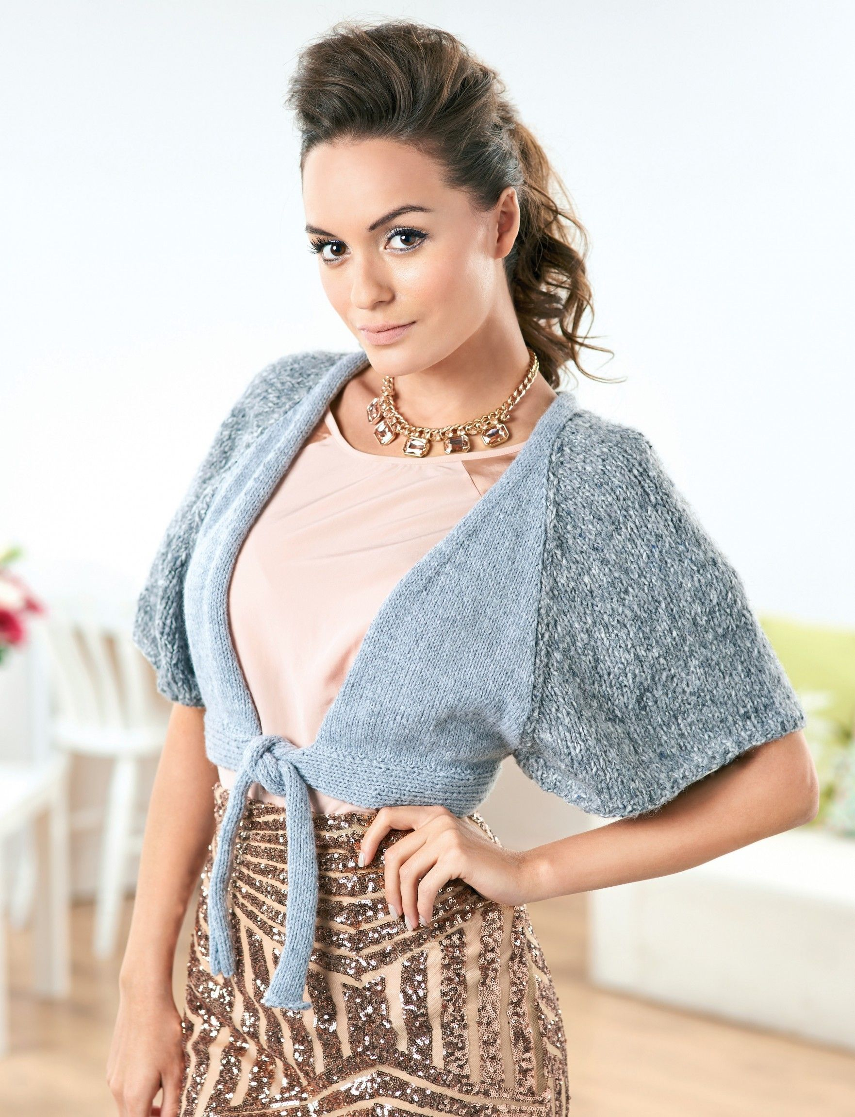 Stylish Bolero - Free Knitting Patterns - Shrug & Shawl Patterns ...
