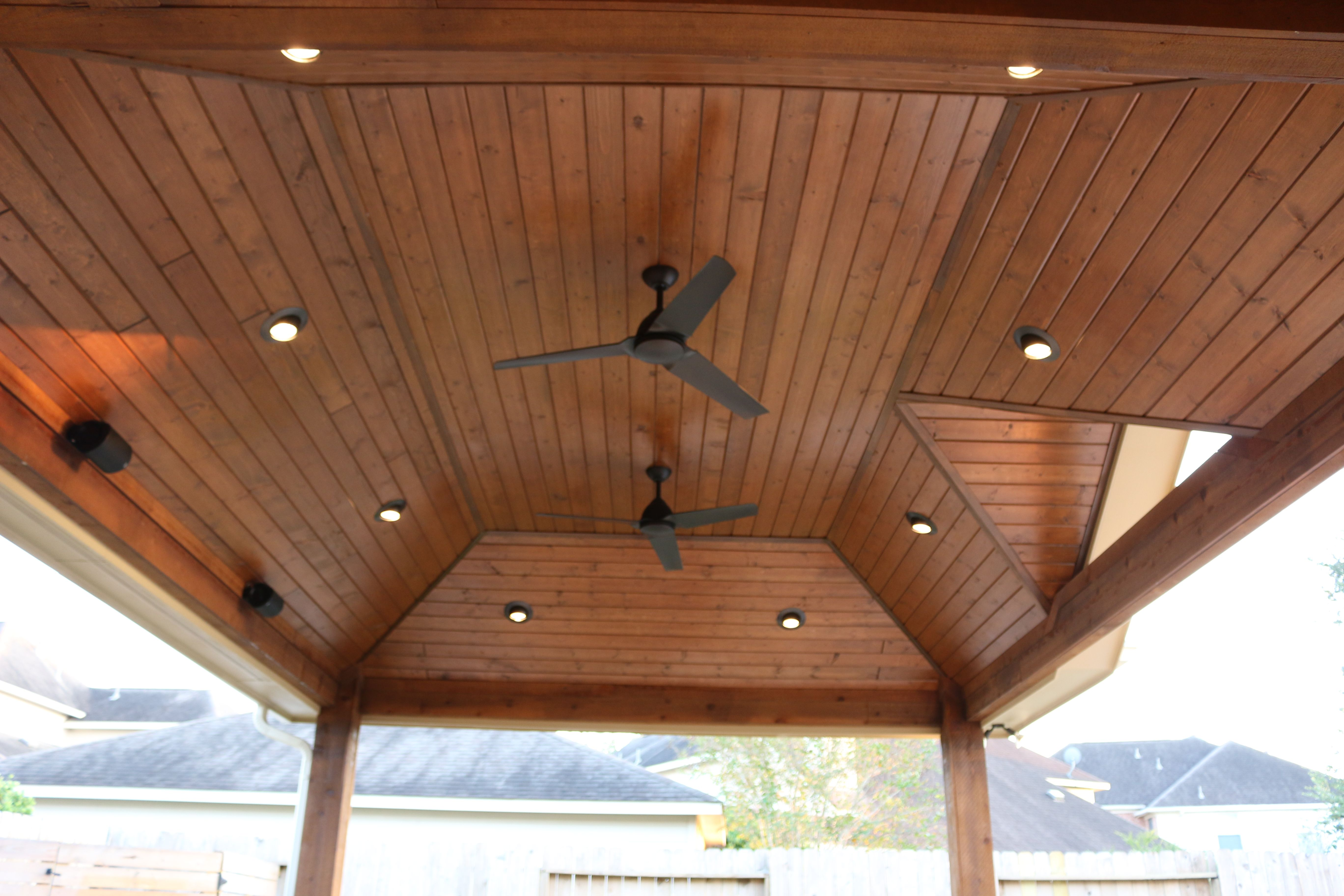 Pre Stained Tongue And Groove Pine Ceiling, Recessed Lighting, Outdoor  Ceiling Fans In