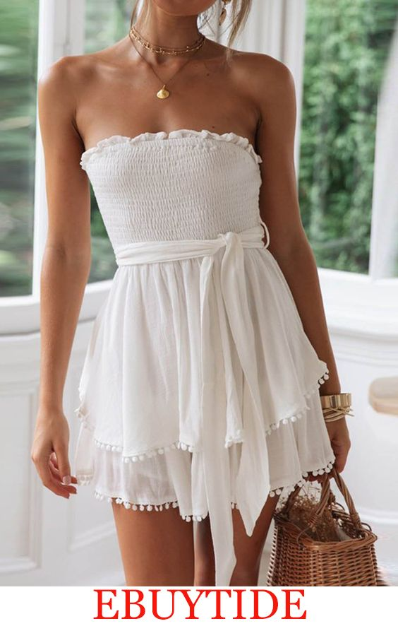 Cotton And Linen Ruffled Chest Strap Dress 10