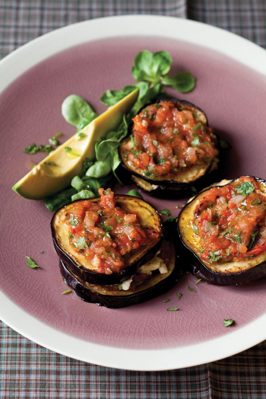 Eggplant Stacks With Tomato Chipotle Salsa