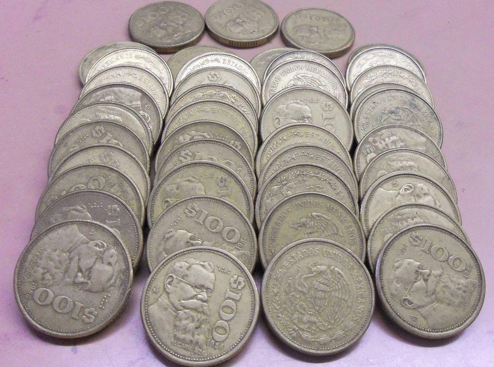Over 1 Pound Lot! 1984-1992 100 Peso Bronze Coins Mexico-KM # 493