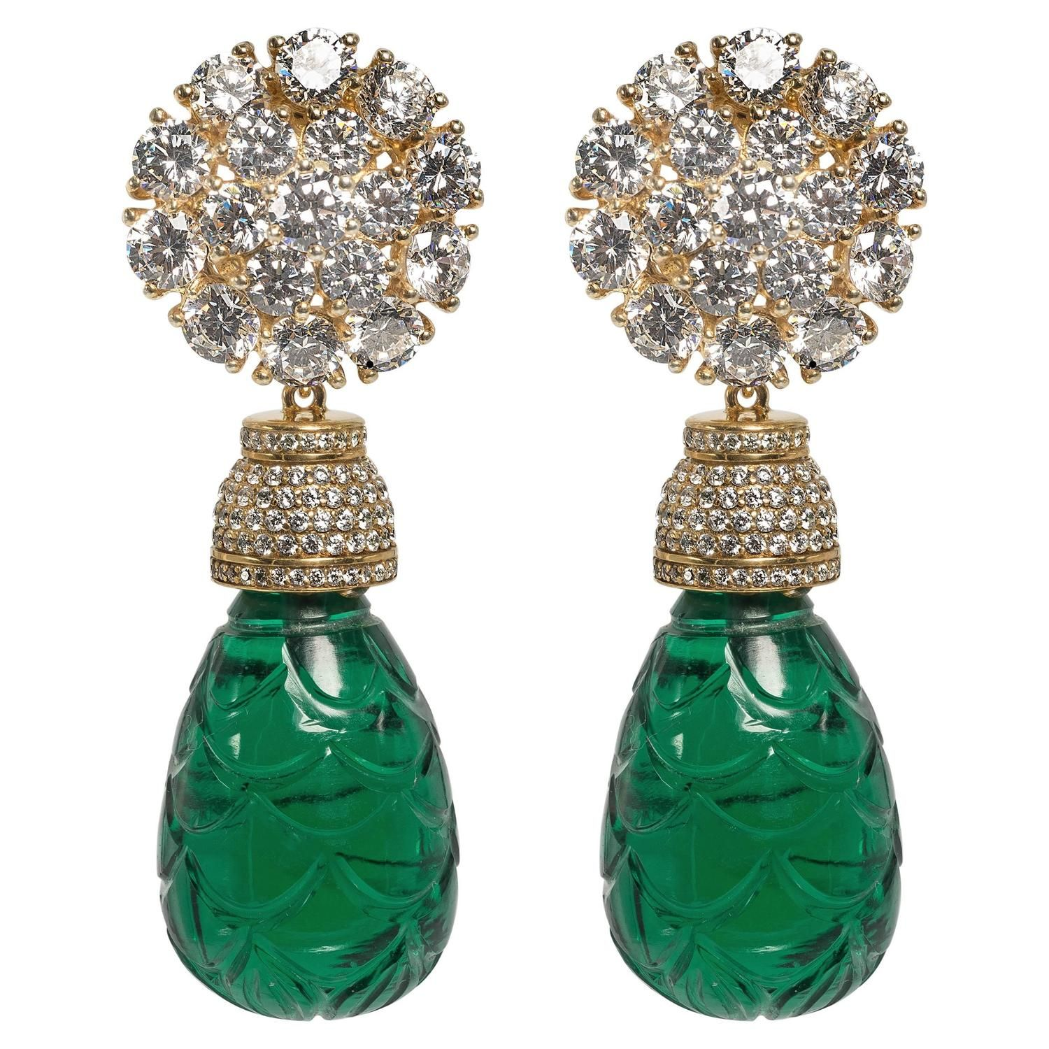 Maharajah Jewel Collection Carved Faux Emerald Bead Diamond Earrings