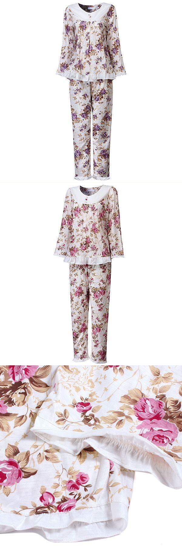 934b147763 Plus size floral printing cotton nightwear soft long sleeve pajamas sets  for women dillards sleepwear robes  dkny  sleepwear  robes  izod  s…