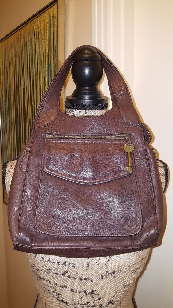 Gently Used Fossil 1954 Handbag 75082 Genuine Leather Clothing Shoes Accessories Women S Handbags Bags Purses Ebay