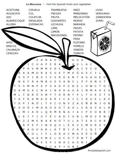 Dramatic image with printable spanish word search answers