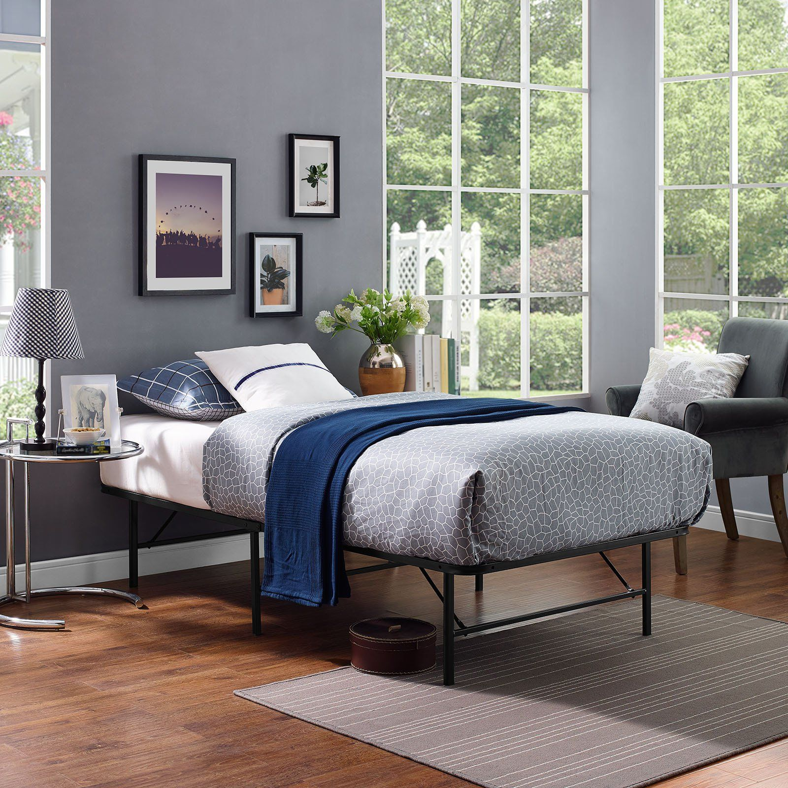 Modway Horizons Stainless Steel Bed Frame (With images