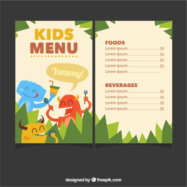 Kids Menu Template With Cute Monsters Free Vector  For The Kids
