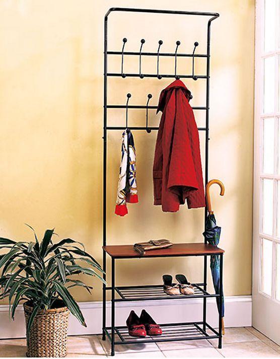 Hall Tree Coat Rack Bench Shelf Shoes Entryway Organizer Metal Wood ...
