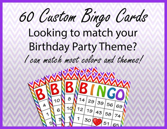60 Custom Birthday Bingo Cards
