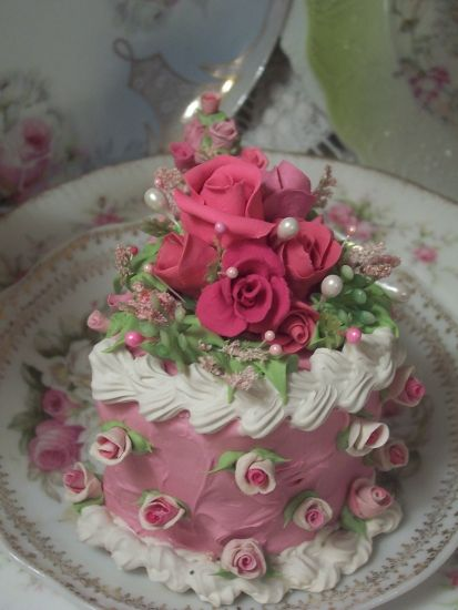 (pinkettarosita) Fake Food Slice of Cake Shabby Pink Roses Victorian