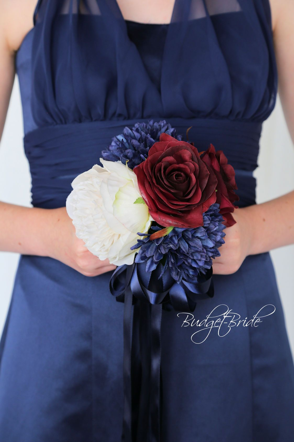 Davids bridal marine blue apple red and ivory wedding bouquet with