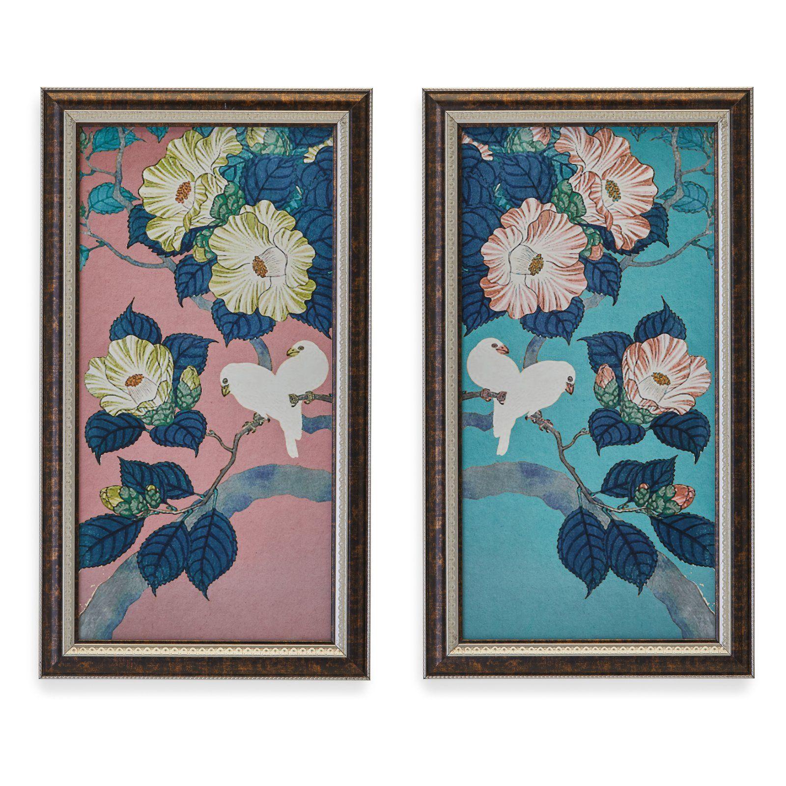 Camilia Birds 2 Piece Framed Wall Art Set By Drew Barrymore Flower Home Bird Wall Art Framed Wall Art Sets Frames On Wall