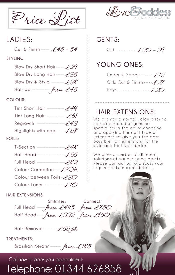 salon price list i like the layout and the photo at the bottom