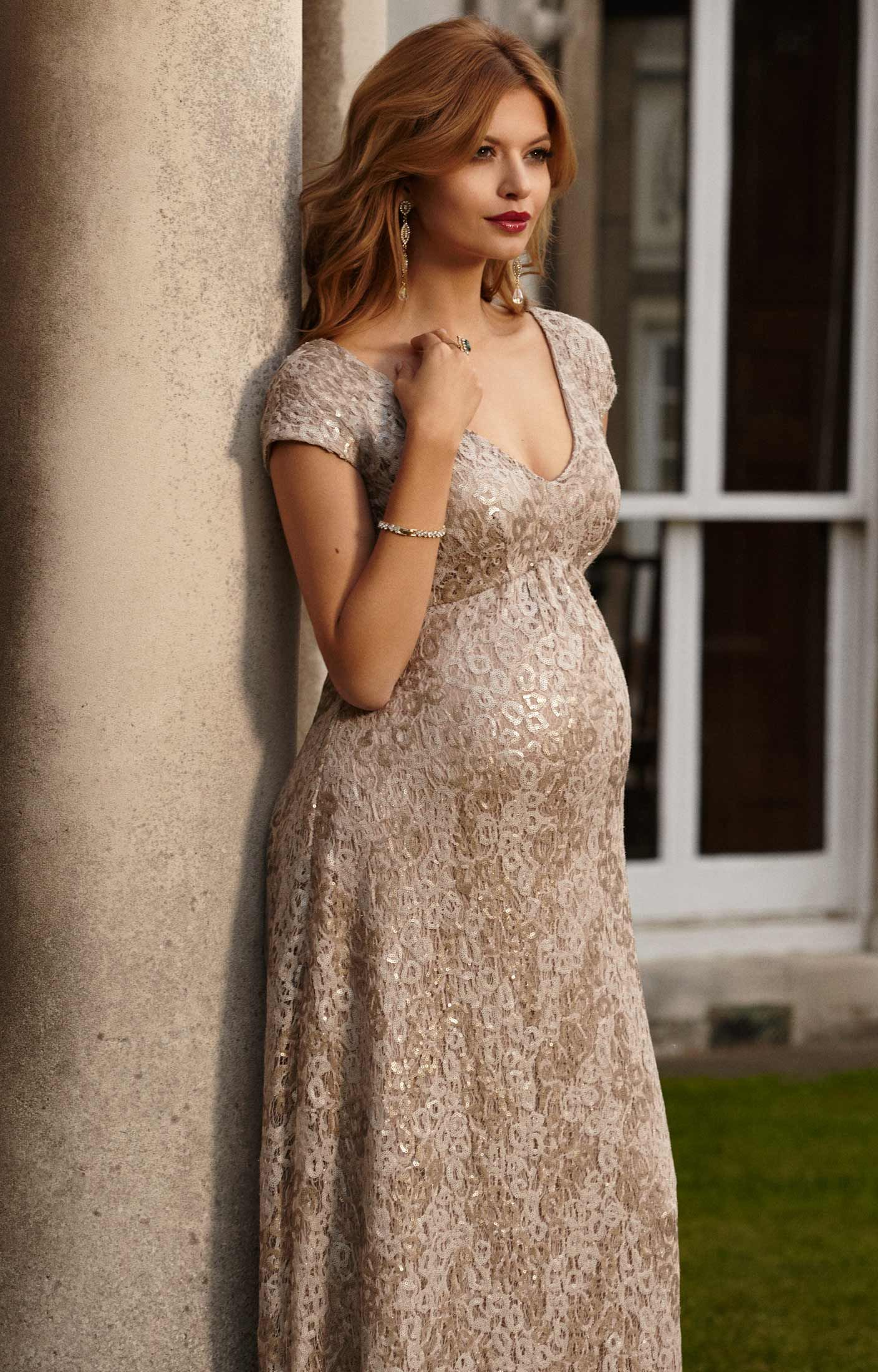 40d2ec5f5eed4 Carmen Maternity Gown Gold Rush by Tiffany Rose | Maternity ...