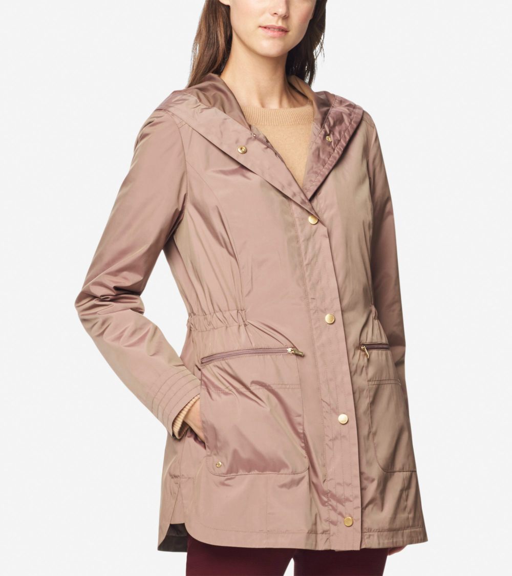Cole Haan Womens Quilted Hooded Jacket