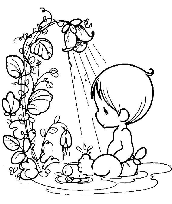 Baby Bathing Precious Moments Coloring Pages Precious Moments