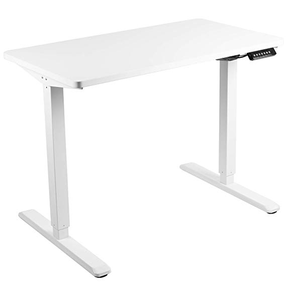 Amazon Com Vivo Electric 43 X 24 Inch Stand Up Desk White Table Top White Frame Height Adjustable Standing Works In 2020 White Table Top White Desks Stand Up Desk
