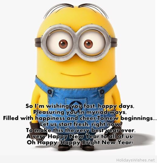 minions cartoon funny minion happy new year message holiday wishes funny happy