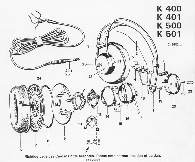 exploded AKG K501 Headphones Exploded Diagram | AKG | Diy