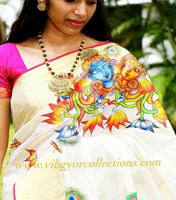 Kerala saree with mural painting online from for Asha mural painting