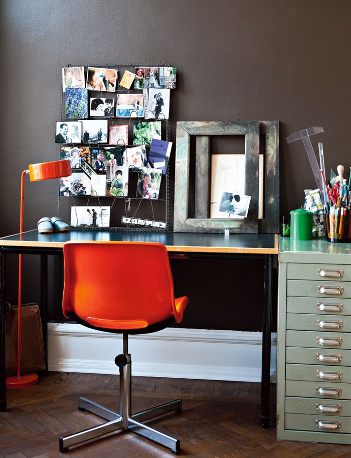 the orange chair and the vintage filing cabinet are tied for which i rh pinterest it