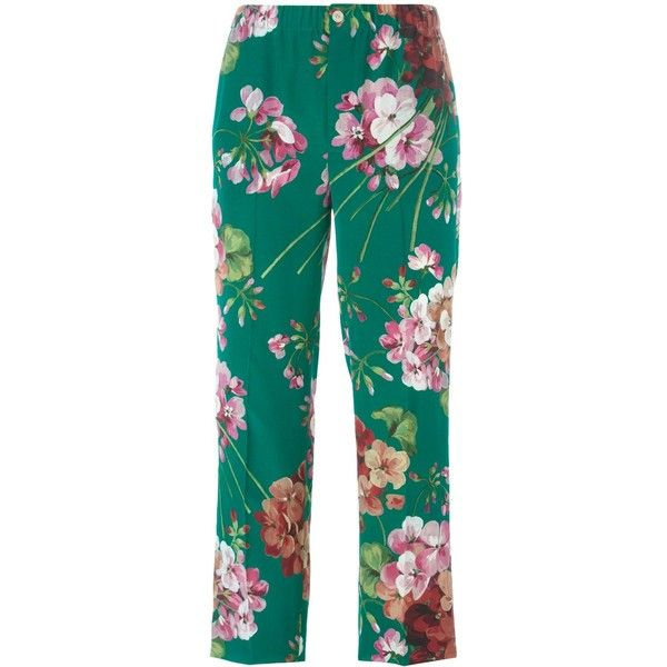Gucci Silk Trousers With Bloom Print (1.040 BRL) ❤ liked on Polyvore featuring pants, trousers, green, flower print pants, gucci pants, blue trousers, silk pants and gucci