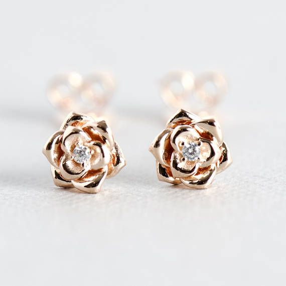 82818b9bd 14k Floral Rose Gold Stud Earrings, Floral Earrings, 925 Sterling Silver, Pink  Rose Gold Earrings, Rose and Choc #christmasgift #christmasgiftideas ...