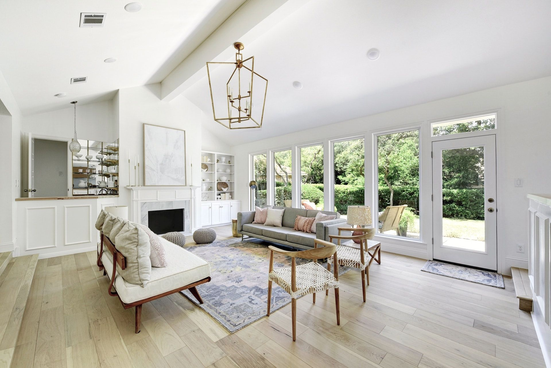 step down living room with wall of windows white walls vaulted rh pinterest com