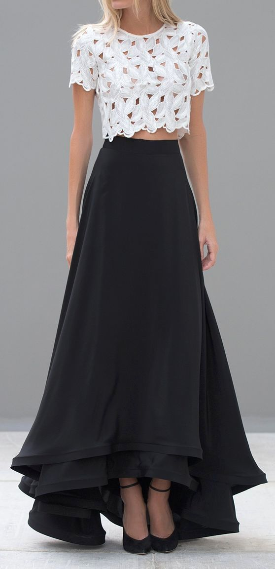 b937428253 Note stiffening at hem to add interest: Crop Tops, Style, Lace Crop Top,  Outfit, Black Maxi Skirt, Crop Top Dress, Maxi Skirts