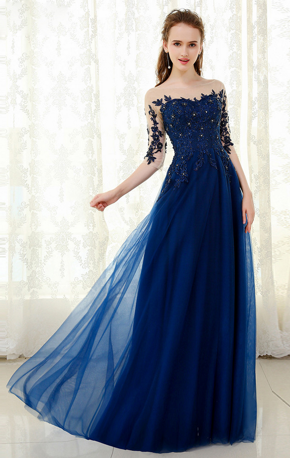 8a303b2a17e New Design A-Line Tulle Scoop Lace Bead Applique Navy Blue Prom Dress Half  Sleeve Long Evening Dress