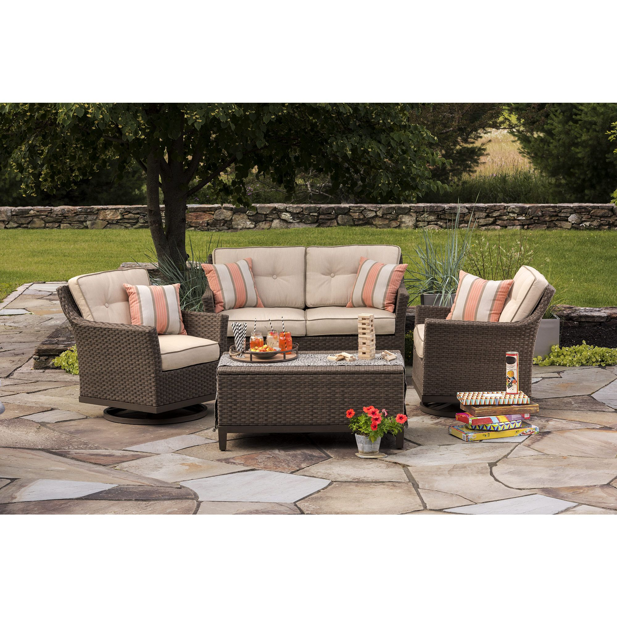 Berkley Jensen 4 Piece Wicker Deep Seating Set In Taupe