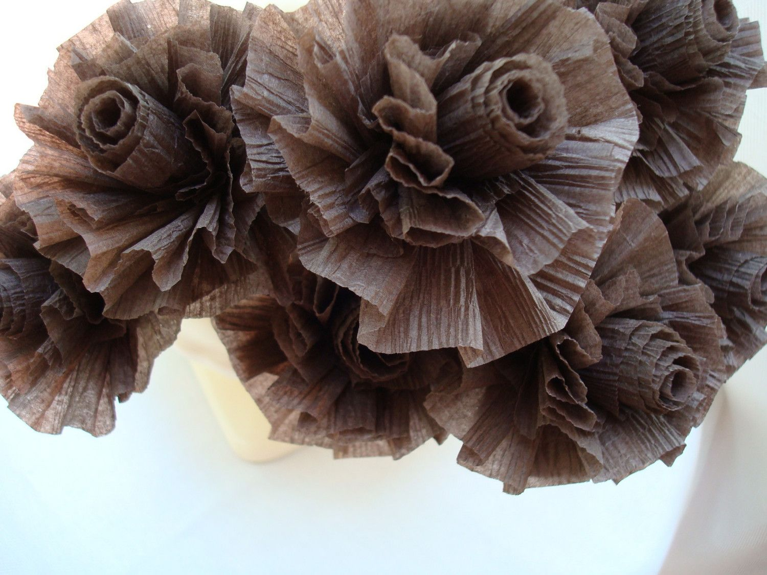 7 Chocolate Brown Wedding Crepe Paper Roses...ART DECO STYLIZED FLOWERS