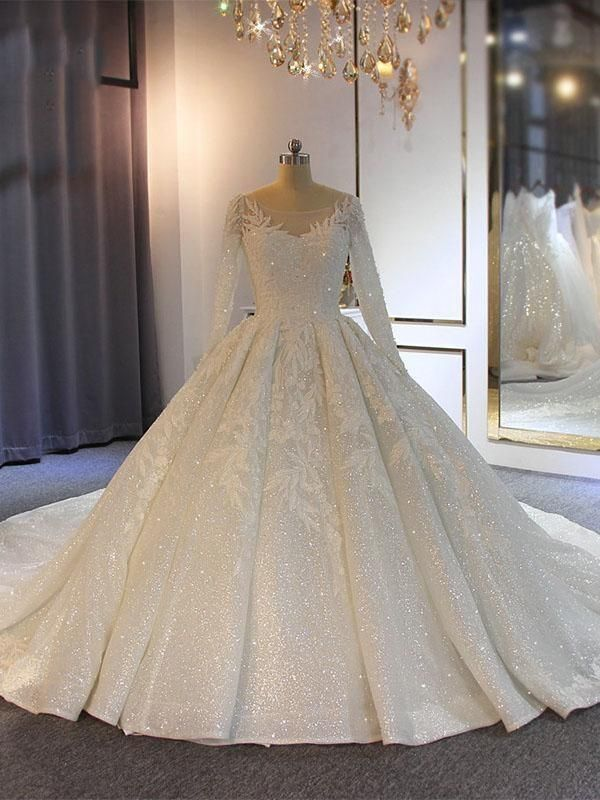 O-Neck Long Sleeves Lace-Up Ball Gown Wedding Dresses with Train