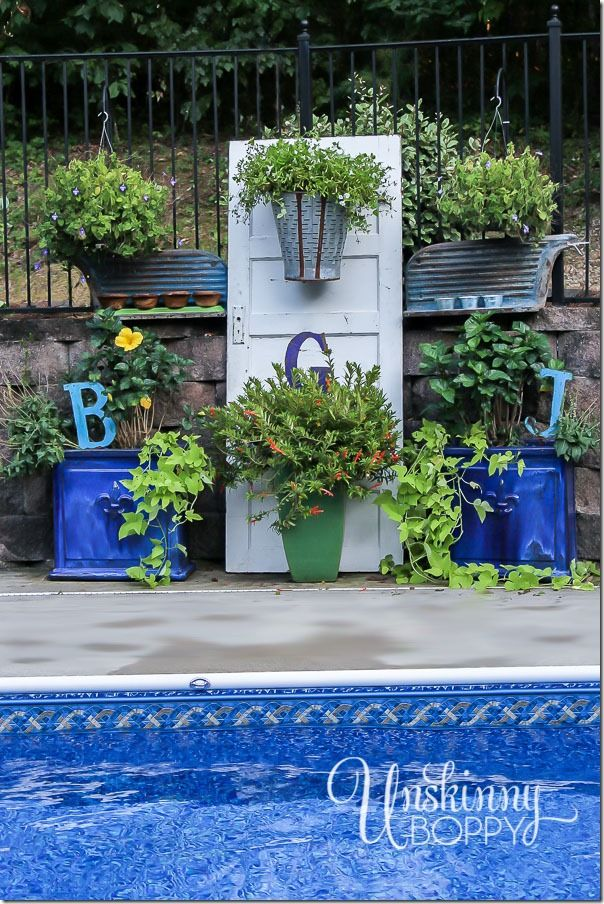 pool patio and garden decorating with old doors and rusty junk www rh pinterest com