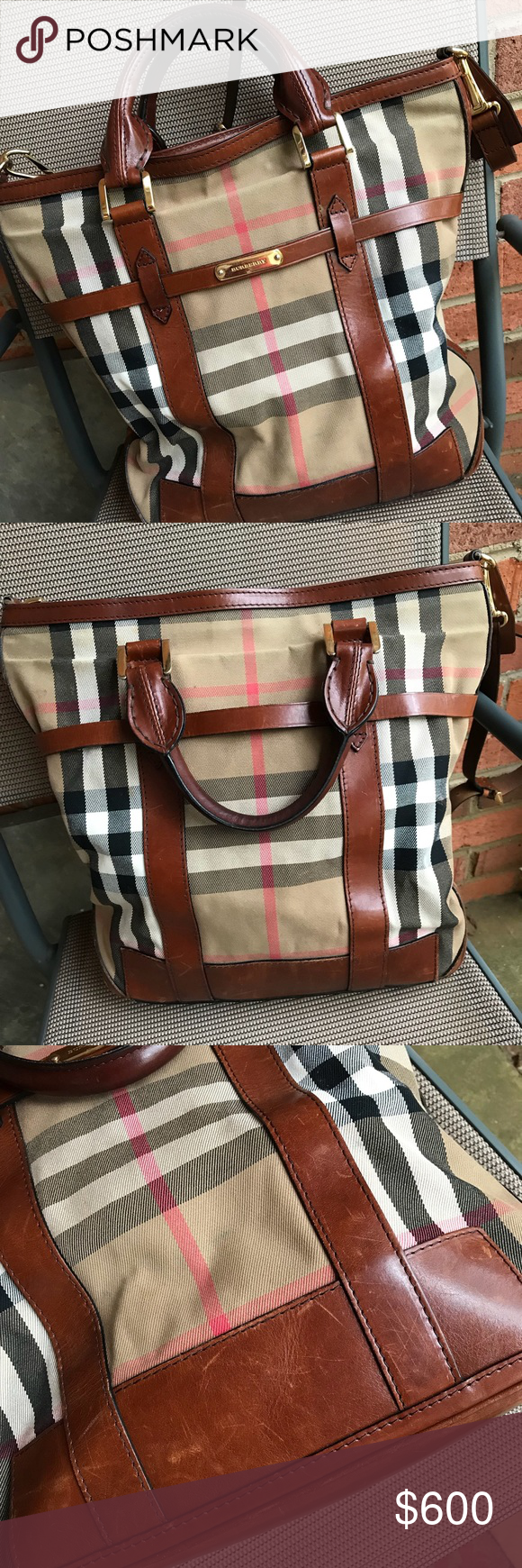 Burberry Bag Used Can With Just The Handles Or Removable Shoulder Strap Some Scuffs As Seen In Pictures Measures Roximately