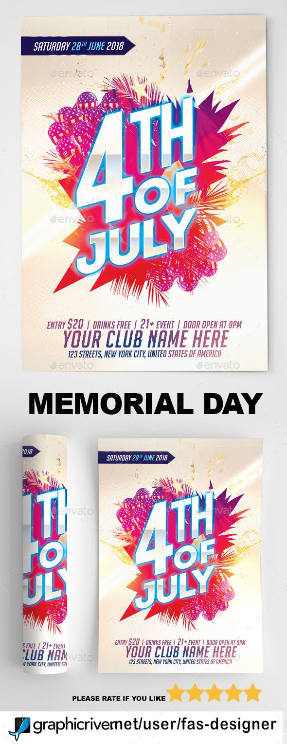 4th of july flyer template events flyers 4th july flyer