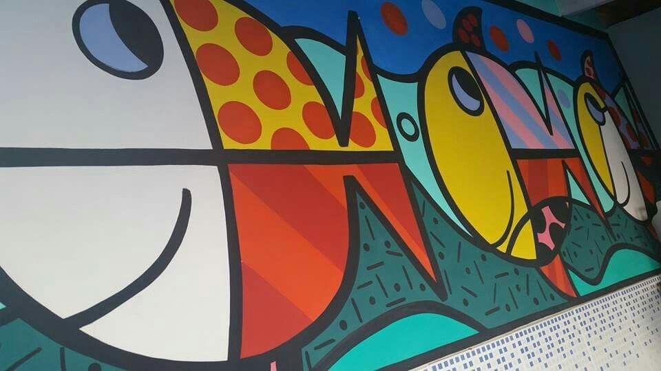 Pintura na parede Romero Brito releitura